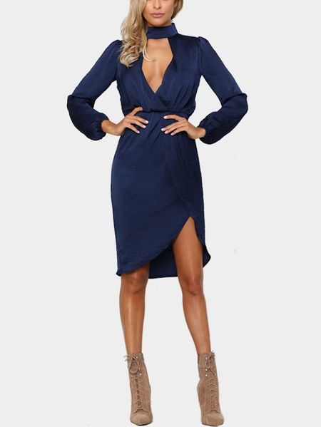 Yoins Navy High Neck Long Sleeves Midi Dress with Front Cutout Details