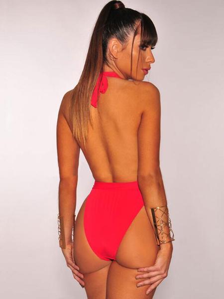 Milanoo Women Sexy Monokini Swimsuit Halter Plunging Neck Backless One Piece Bathing Suit