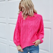 Neon Pink Cable Knit Sweater