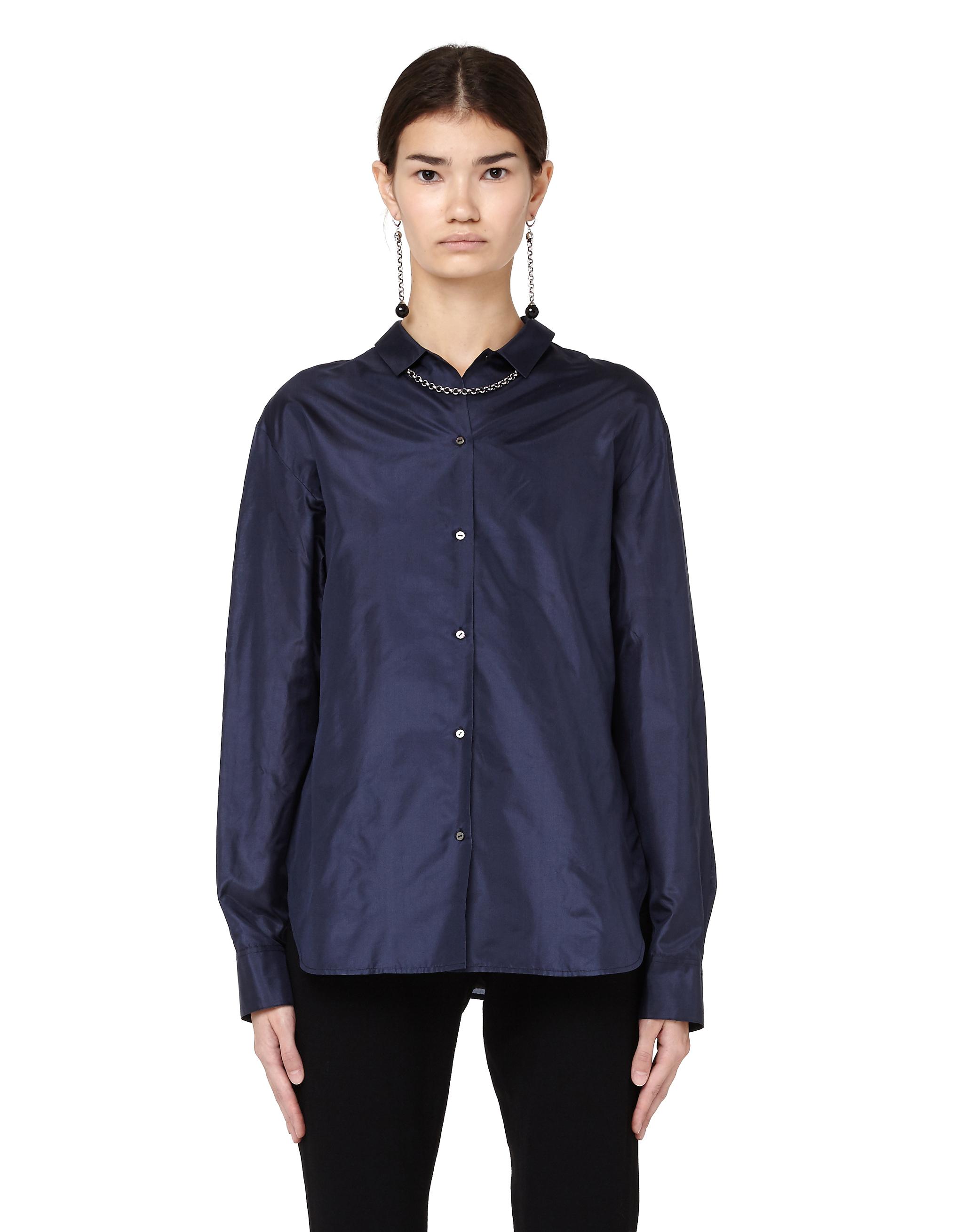 The Row Blue Silk Shirt