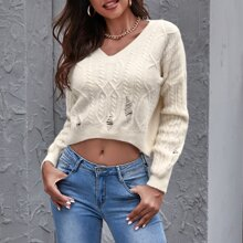 Cable Knit Ripped Crop Sweater