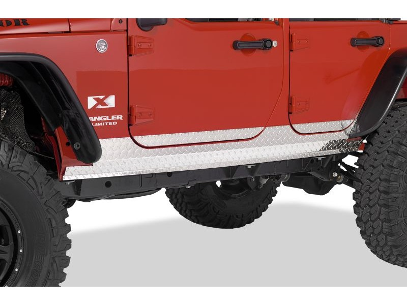 Warrior Products 927PA Sideplates Compatible w/OEM Rubicon Rails Polished Aluminum 2dr Jeep JK Wrangler 07-17