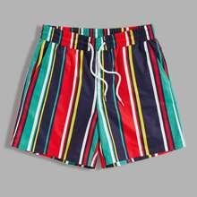 Maenner Shorts mit Kordelzug um die Taille und Streifen