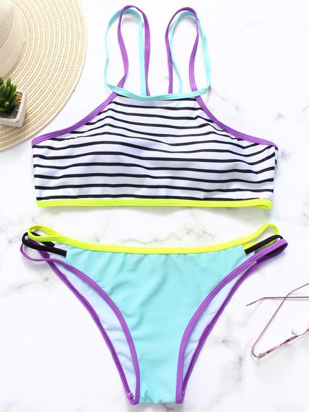 Yoins Multi Stripe Lace-up Bikini Set