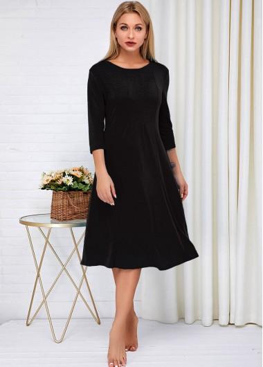 Black Dresses Three Quarter Sleeve Round Neck Black Dress - S