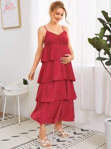 Maternity Shirred Back Layered Ruffle Hem Polka Dot Slip Dress