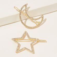 Horquilla con diseño de estrella y luna grabada con diamante de imitacion 2 piezas