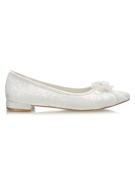 Milanoo Ivory Wedding Shoes Lace Pointed Toe Flowers Detail Slip On Flat Bridal Shoes