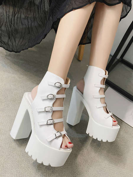 Milanoo Chic Chunky Black Platform Sexy PU Sandals