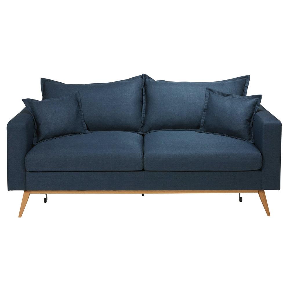 Ausziehbares 3-Sitzer-Sofa mit nachtblauem Stoffbezug Duke