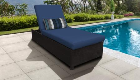 Barbados Collection BARBADOS-W-1x-NAVY Wicker Patio Chaise with Wheels - Wheat and Navy