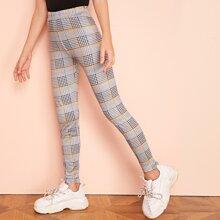 Maedchen Leggings mit elastischer Taille und Karo Muster