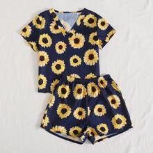 Girls Sunflower Print PJ Set