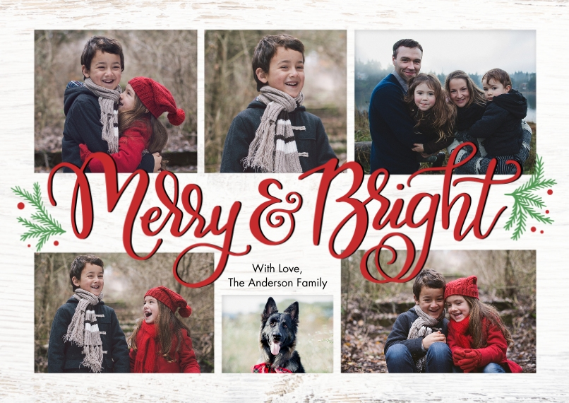 Christmas Photo Cards 5x7 Cards, Premium Cardstock 120lb, Card & Stationery -Christmas Merry & Bright Collage