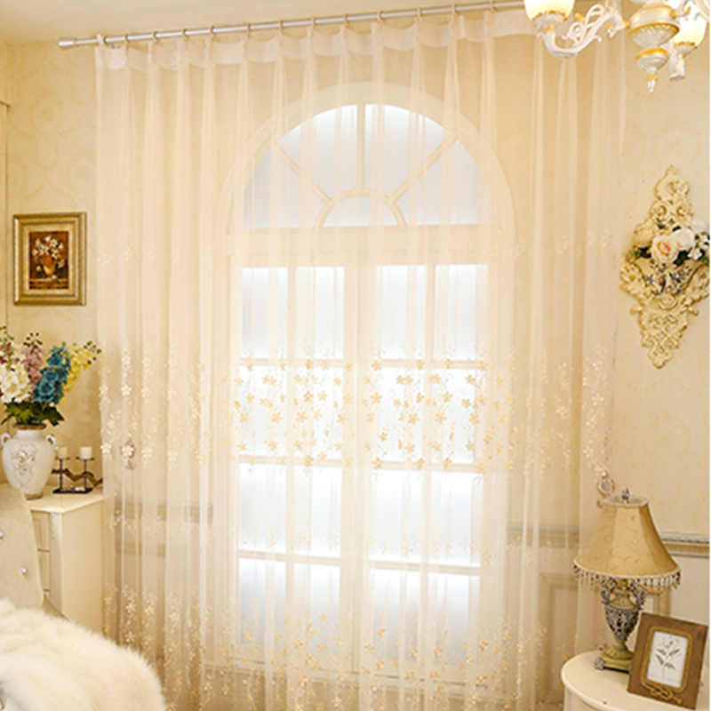 Delicate Materials with Embroidered White Flowers 2 Panels Sheer Curtain
