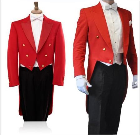 Red Long Blazer Black Pants 3 Piece Groom Tuxedos Wedding Prom Suits