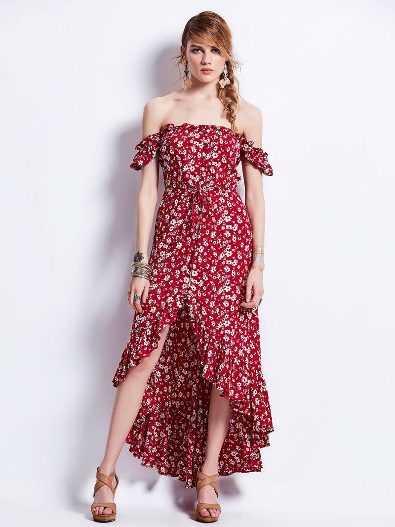 Ericdress Slash Neck Puff Sleeve Print Maxi Dress