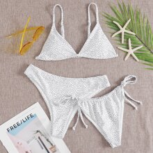 3 Pack Dreieckiger Co-ord Bikini Badeanzug mit Punkten Muster
