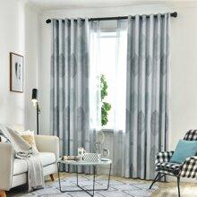 1pc Leaf Print Chiffon Curtain