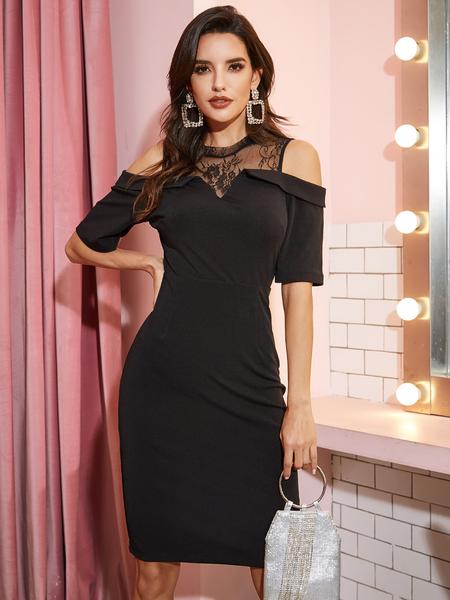 YOINS Black Mesh Patchwork With Slit Hem Cold Shoulder Dress