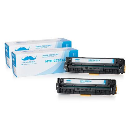 Compatible HP 304A CC531A cartouche de toner cyan - Moustache@ - 2/paquet