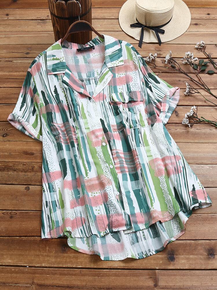 Casual Print Lapel Button Plus Size Shirt