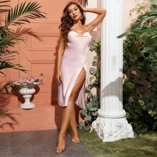 Split Thigh Backless Satin Cami Night Dress