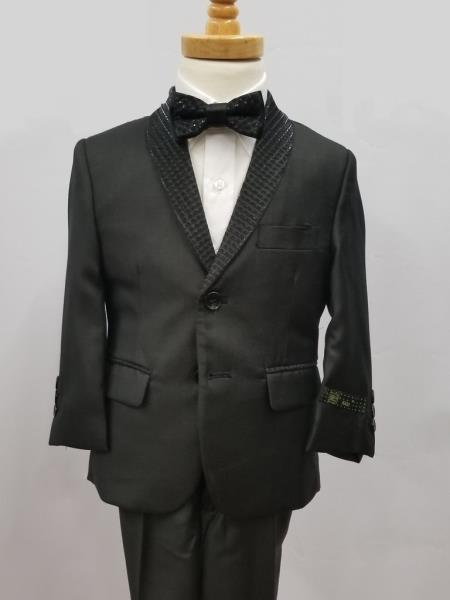 Mens Giovanni Testi Single Breaste Shawl Lapel Suit Black