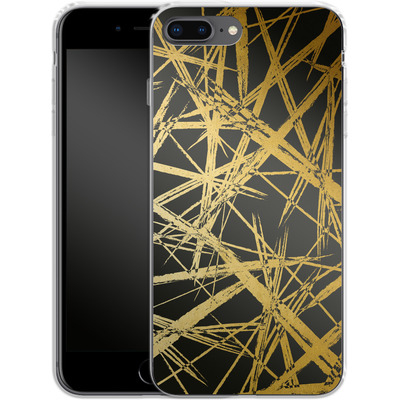 Apple iPhone 7 Plus Silikon Handyhuelle - Strokes Gold Black von Khristian Howell