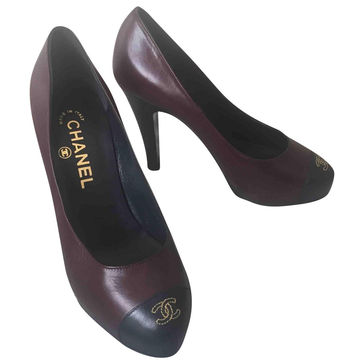 Chanel - Escarpins   pour femme en cuir - bordeaux