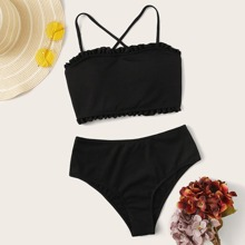 Rib Frill Trim Lace-up Back Top With High Waisted Bikini