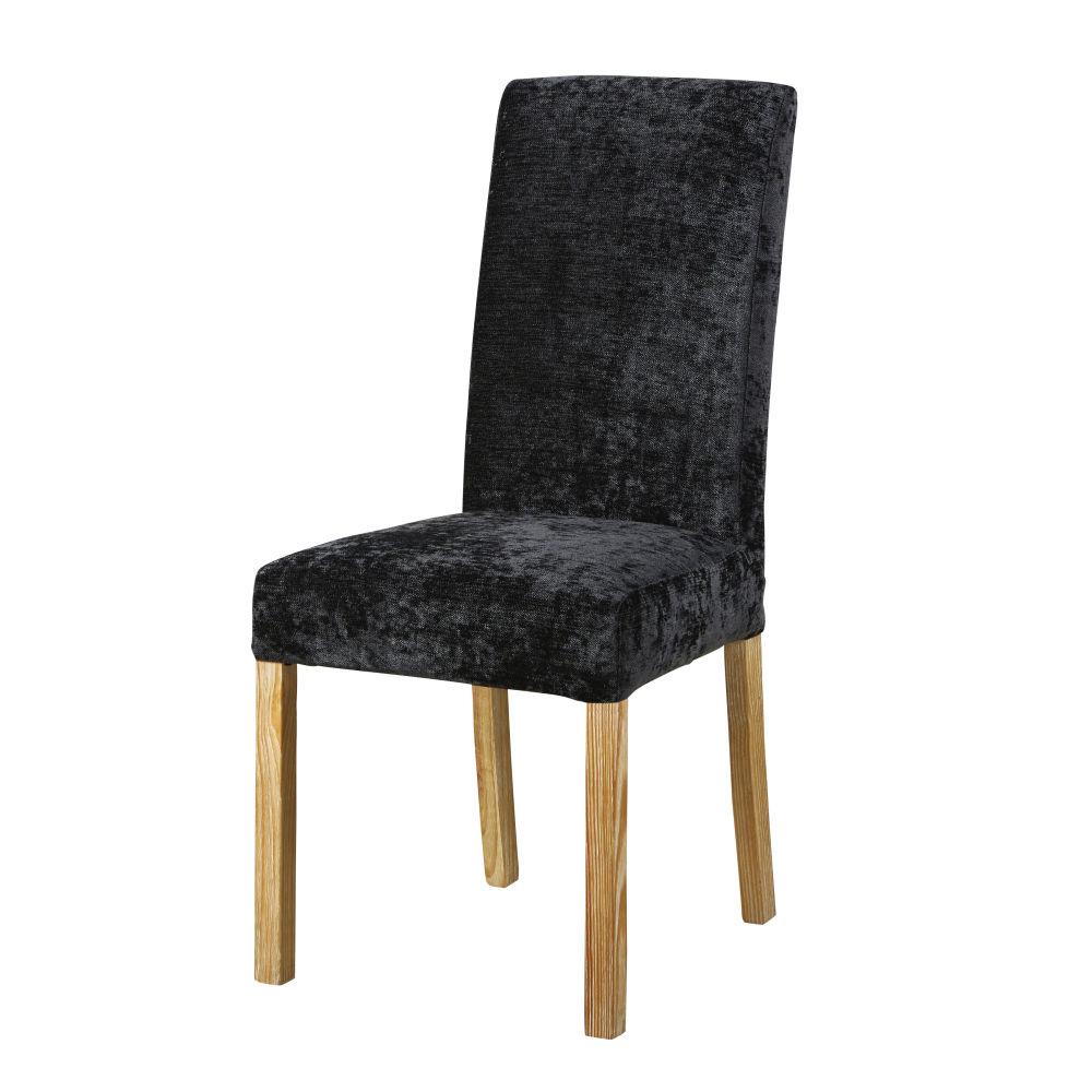 Stuhlbezug aus Samt, schwarz