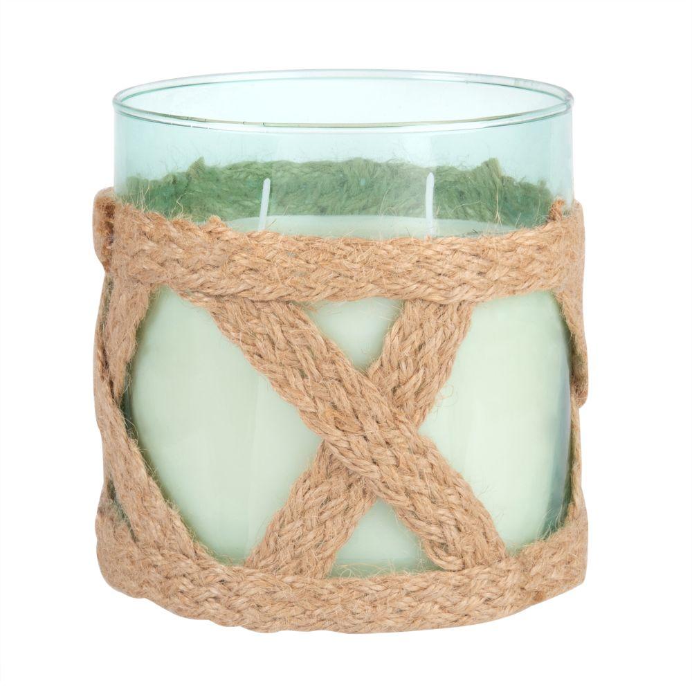 Duftkerze im blau getonten Glas mit Schnurdekor