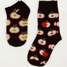 2 Paare Socken mit Obst Dekor