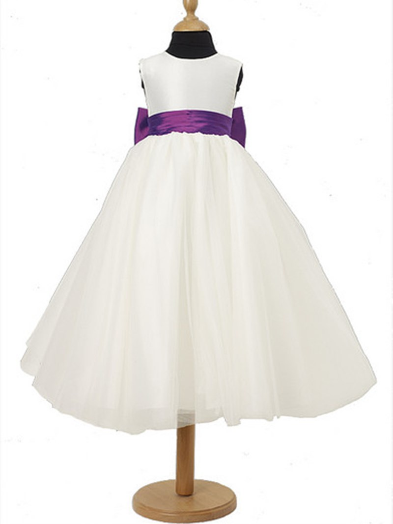 Charming A-line Scoop Tea-length Sash Flower Girl Dress