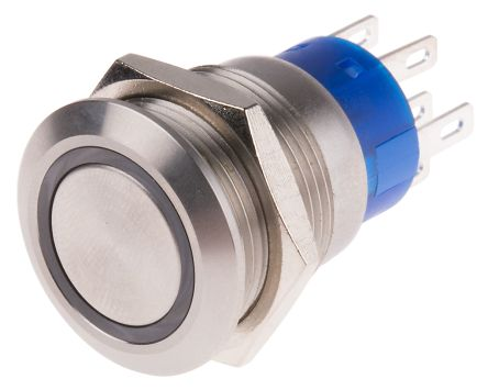 RS PRO Double Pole Double Throw (DPDT) Latching Blue LED Push Button Switch, IP67, 19.2 (Dia.)mm, Panel Mount, 250V ac