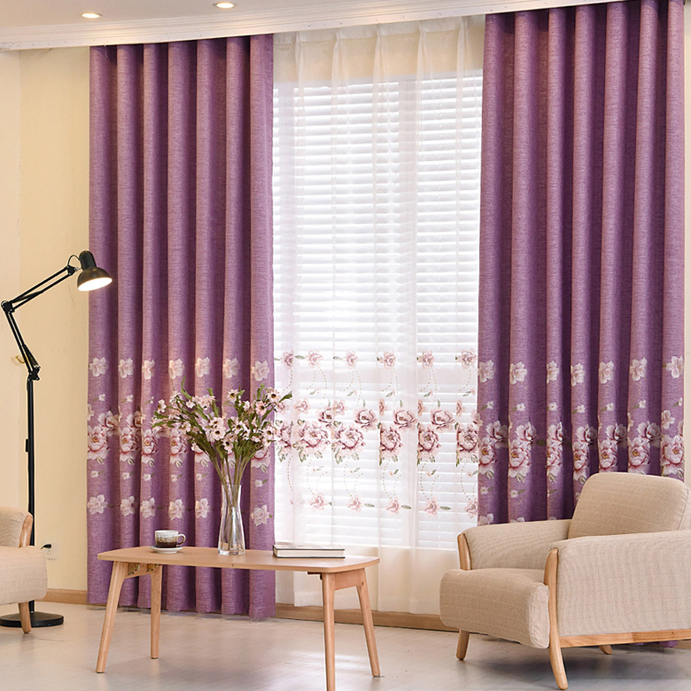 Pastoral Floral Embroidered Blackout Window Curtains Custom 2 Panels Purple Drapes for Living Room No Pilling No Fading No off-lining