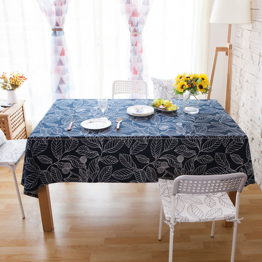 Plant Pattern Cotton Square Shape Home Use Table Cloth