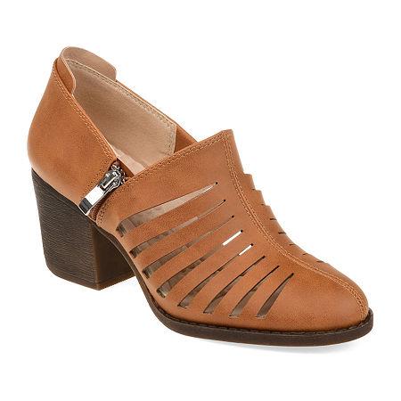 Journee Collection Womens Venice Booties Block Heel, 10 Medium, Brown