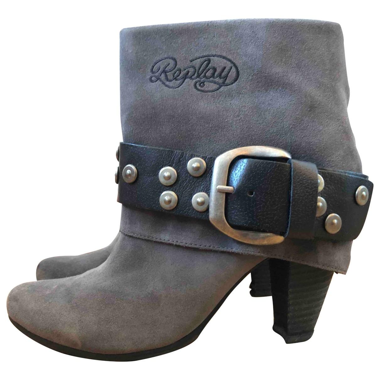 Replay - Boots   pour femme en suede - gris