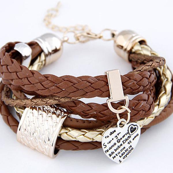 Women's Hand-made Knitting Leather Heart Shape Pendant Bracelet
