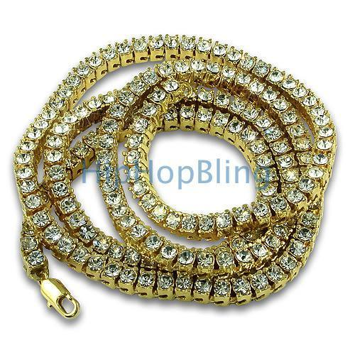 Womens Gold 1 Row Bling Tennis Necklace
