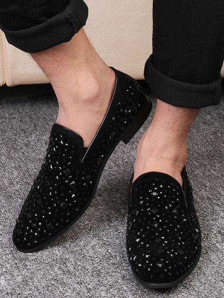Milanoo Mens Black Glitter Loafers Studded Shoes with Slip on Prom Dress Shoes