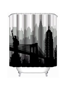 3D Black Statue of Liberty Printed Polyester Waterproof Antibacterial and Eco-friendly Shower Curtain