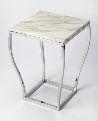 Haley Collection 5278220 End Table with Modern Style  Square Shape and Stainless Steel Material in Nickel