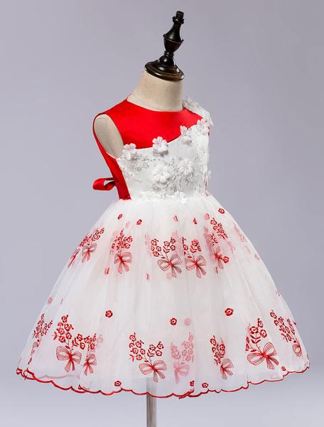 Milanoo Flower Girl's Dress Lace Applique Princess Toddler's Pageant Dress Satin Knee Length Toddlers Dresses