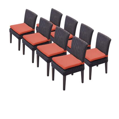 TKC094b-ADC-4x-C-TANGERINE 8 Venice Armless Dining Chairs with 2 Covers: Wheat and