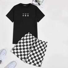 T-Shirt mit Buchstaben Grafik & Shorts mit Karo Muster und Kordelzug Set