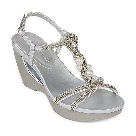 Andrew Geller Womens Allisandra Wedge Sandals, 5 1/2 Medium, Silver