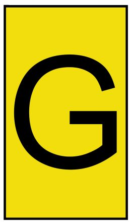 HellermannTyton Ovalgrip Slide On Cable Marker, Pre-printed G Black on Yellow 2.5 → 6mm Dia. Range